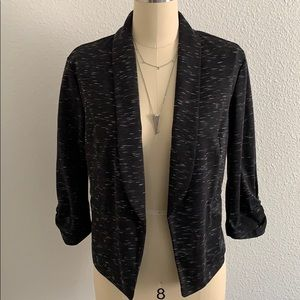 Space dye black ruched sleeve blazer L